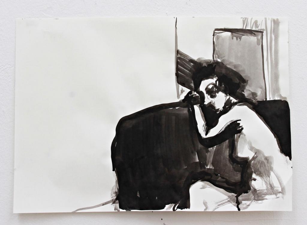 Akt im Raum, ink on paper, 40×60 cm