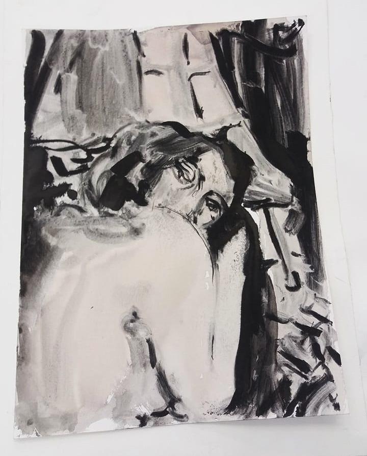 Eva, ink and wine on paper, 30×50 cm