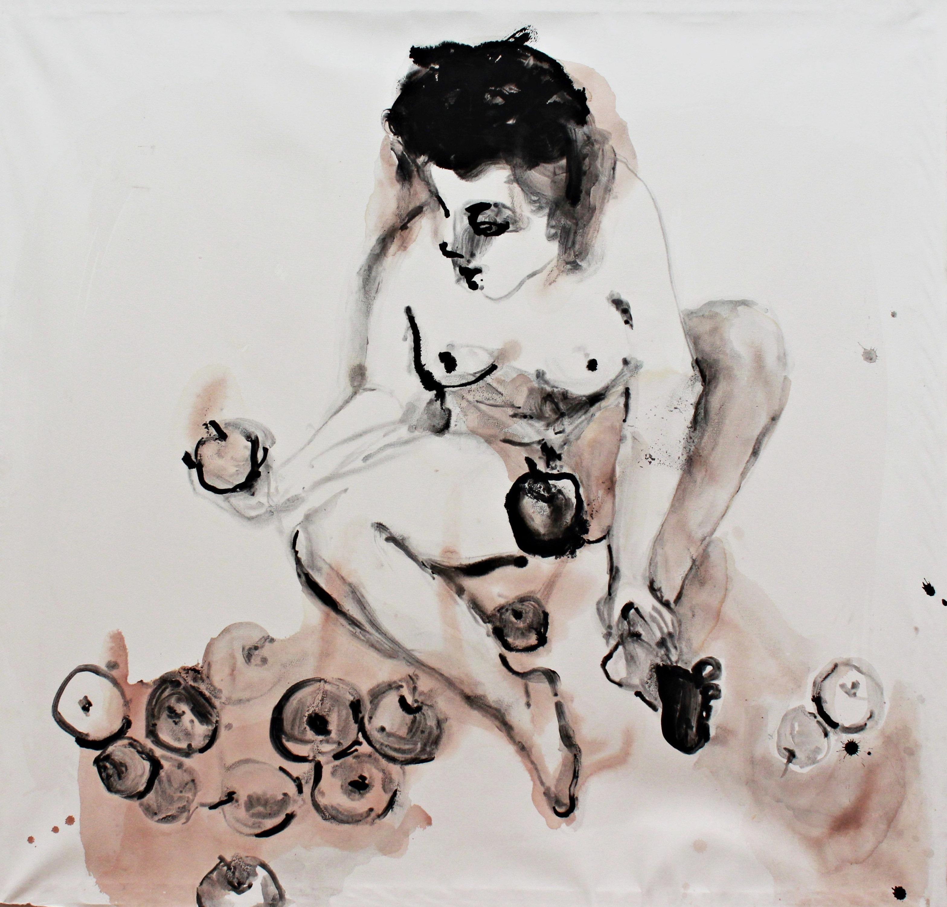 Die Eva, ink and wine on paper, 100×100