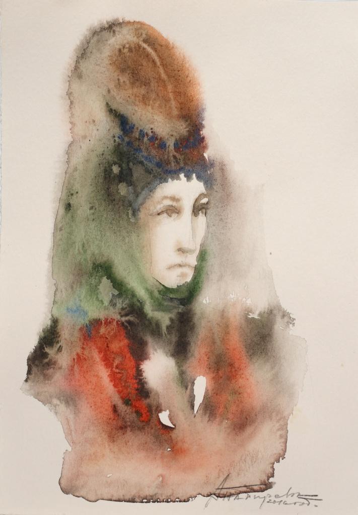 Bulgarin XIII, aquarelle, 15×30 cm