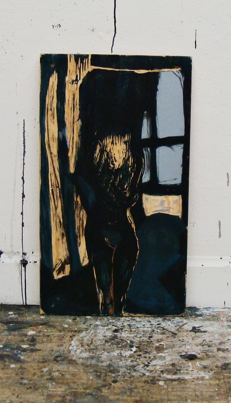 In the night hours, oil and ink on a carved woodplate