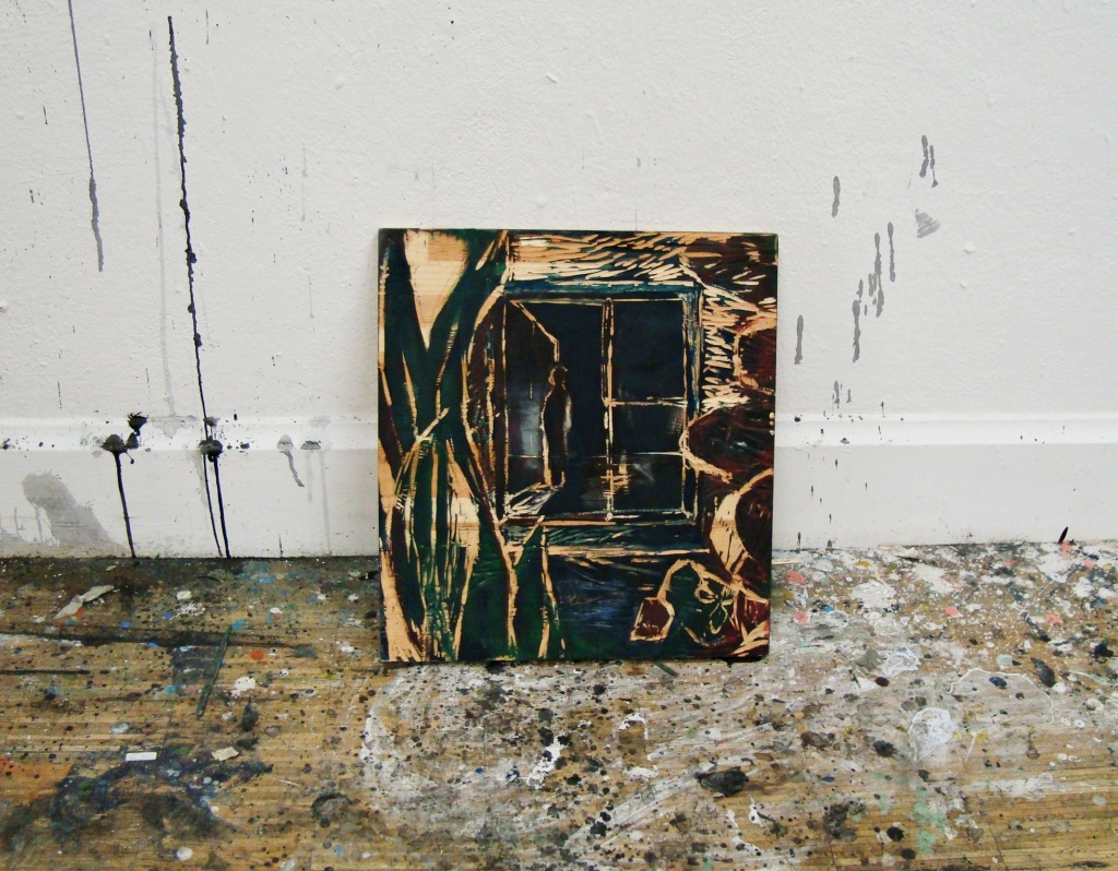 The romantic window, oil and ink on carved woodplate